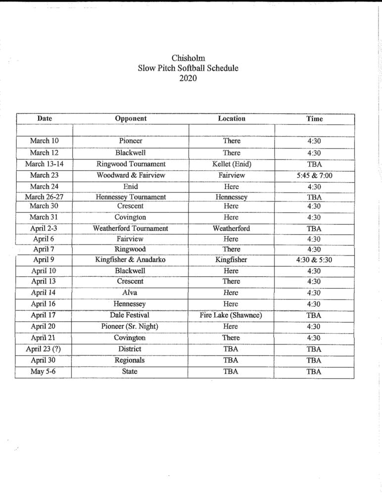 2020 Slow Pitch Schedule
