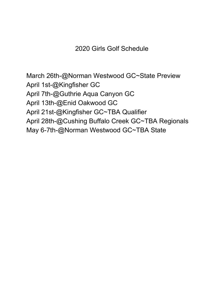 2020 Girls Golf Schedule