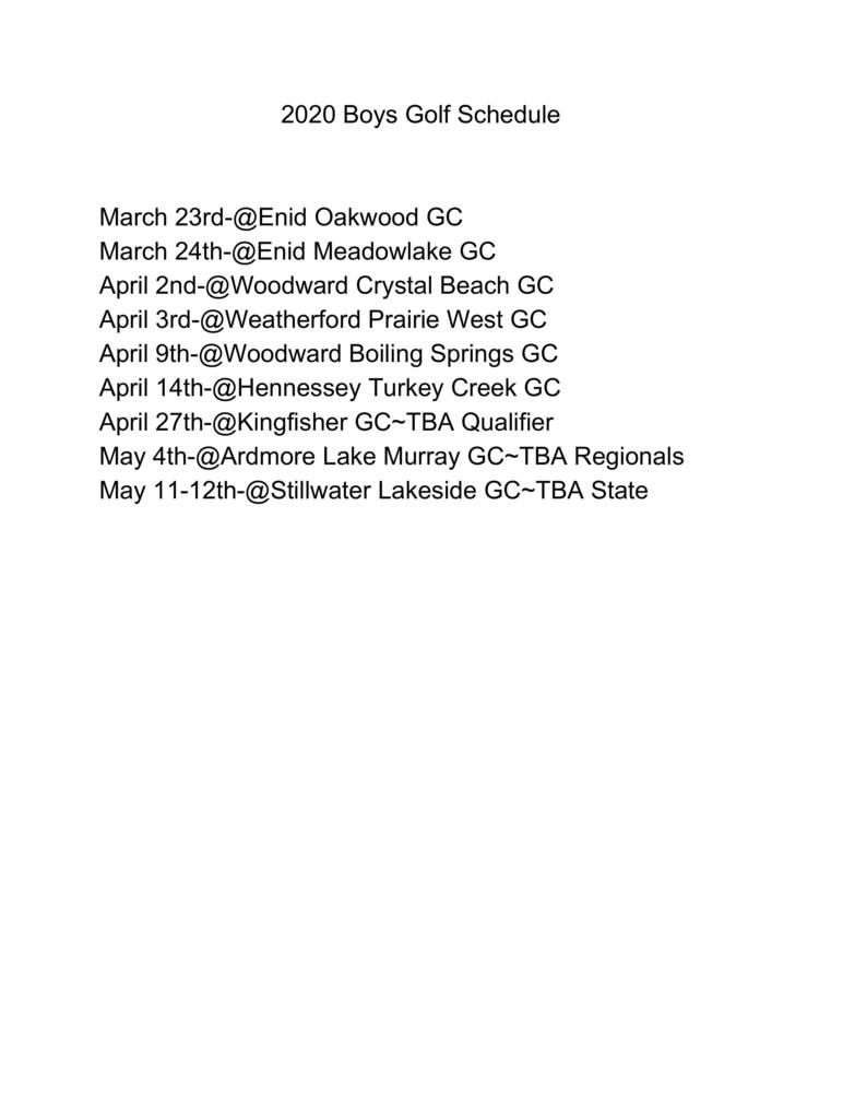 2020 Boys Golf Schedule